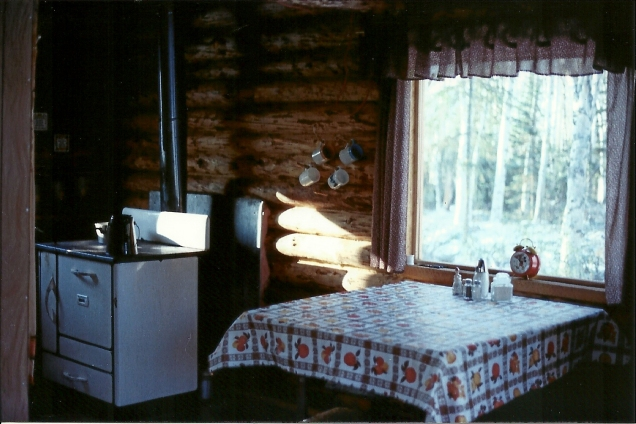 My wilderness kitchen! The heart of a home - for me, that is! Burned a few loaves of bread not to mention a few fingers before I got the hang of the wood cook stove!