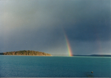 Rainbow over the lake near Frying Pan Island.