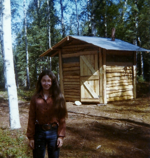 Yippee! I'm moving up in the world! From wash pan to sauna for my bathing needs! Sam built this wood heated sauna our second summer on the island. Nothing better to warm a body to the bones and clean out the pores!
