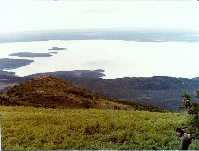 Up on the mountain where Sam shot the bear and where we would pick blueberries. Looking down the lake toward Caribou and Frying Pan Islands. The tiny Island in between the two is Little Caribou Island.